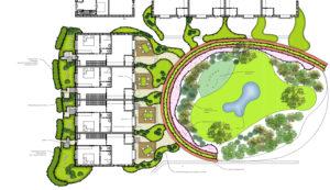 Eco-hofwoningen met een tuin als invulling van de collectieve ruimte. Ontwerp woning Herman Harms. Ontwerp hof Bladgoud-tuinen.nl